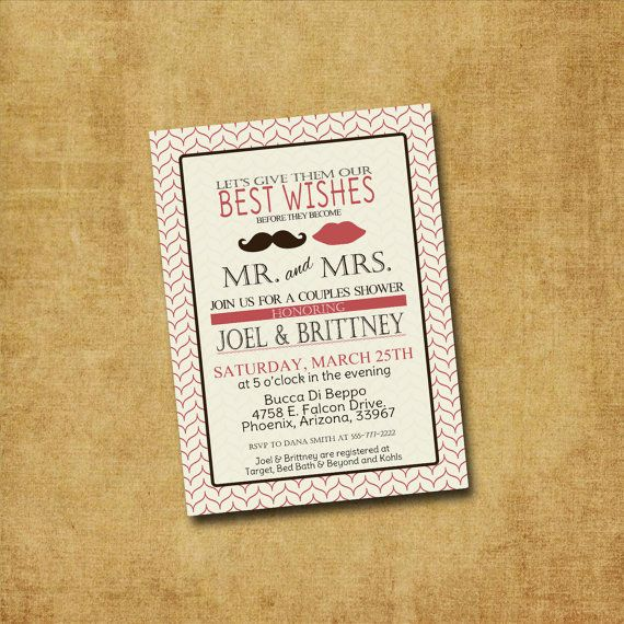 Printable Couple's Shower Invitation - Lips & Stache Couples Shower, Bridal Shower, Wedding Shower, Engagement Party. $12.00, via Etsy.