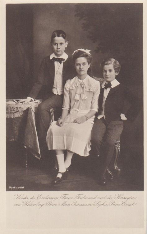 Princess Sophie, Prince Max, and Prince Ernst of Hohenberg, children of Archduke Franz Ferdinand of Austria-Este and Sophie, Duchess of Hohenberg.