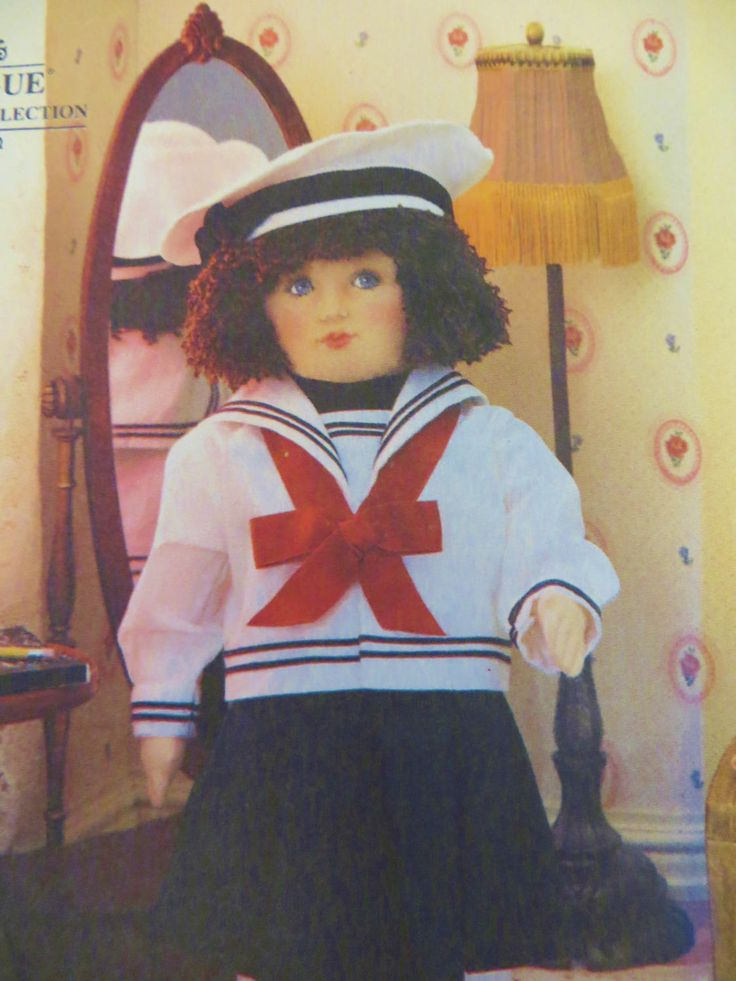 18 inch Doll Pattern, Vogue Craft 8647, with Sailor Clothes, Face Transfer, Soft Rag Doll, Blouse Skirt Shoes Socks Hat, Linda Carr Doll by CatBazaar on Etsy