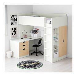 IKEA - STUVA, Galériaágy kombináció+3fiók/2ajtó, fehér/nyír, , Ezzel a galériaággyal teljes gyerekszobai megoldást kapsz – íróasztalt, gardróbot és nyitott polcos elemet is tartalmaz.Az íróasztalt igény szerint párhuzamosan, merőlegesen is összeszerelheted, vagy 2 ADILS lábbal kiegészítve szabadon álló íróasztallá alakíthatod.Ha úgy döntesz, hogy az ággyal merőlegesen szereled össze az íróasztalt, akkor mindkét oldalról hozzáférhetsz a szekrényhez.A csúszásveszély csökkentése érdeké...