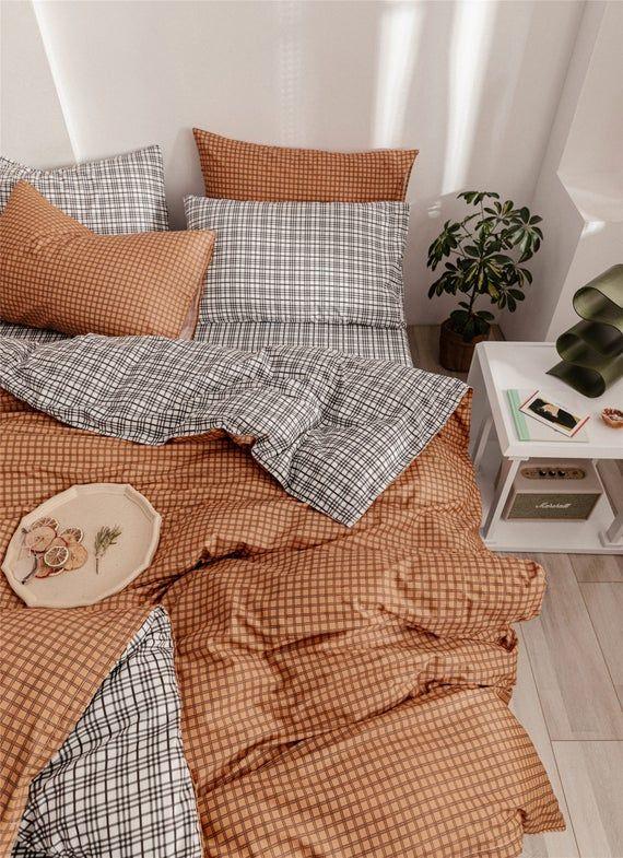 Orange Lattice Duvet Cover Set 100 Cotton Comforter Cover Etsy Room Ideas Bedroom Aesthetic Bedroom Room Inspo
