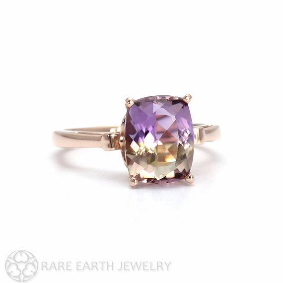 Fleur de Lis Ametrine Ring Cushion Cut Gemstone Ring in 14K or 18K White Yellow Rose Gold Purple Gemstone Ring