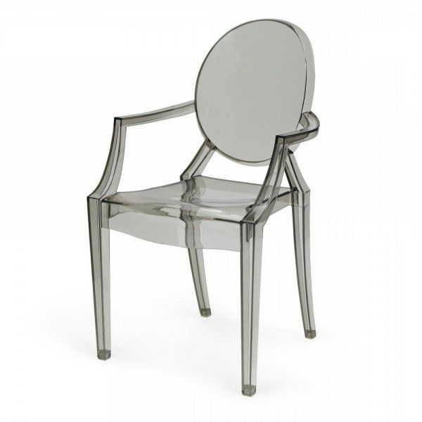 Smoke Grey Ghost Style Louis Armchair | Buy Online Grey Ghost Chair