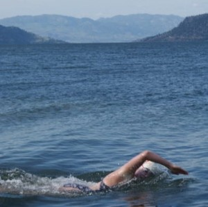 Alison Donelon is seen during her English Channel qualifying swim in the cold waters of Okanagan Lake in  June 2009. (Photo contributed)