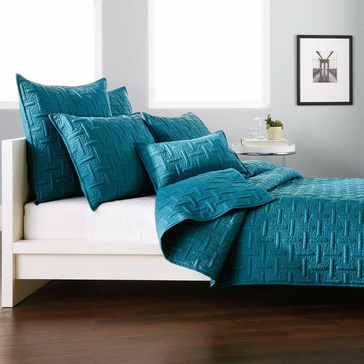 3-Pc DKNY Crosstown Queen Teal Quilt Coverlet Set Euros Geometric Subway Tiles #DKNY #Modern