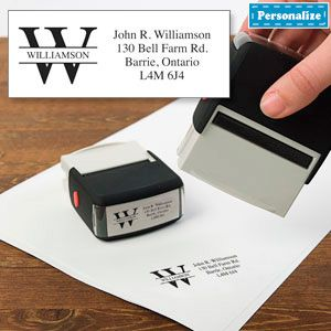 Personalized Stylized Stamp (Initially Yours) - A stylish way to make your mark on envelopes, letters and books! $24.98 CAD