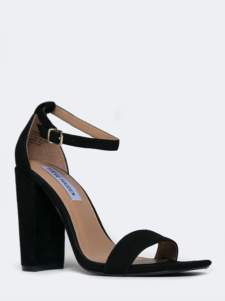- You'll be above the rest in these ankle strap heels! - Soft suede sandals are minimalistic with a single toe strap and chunky heel. - Non-skid sole and cushioned footbed. - Color- Black Suede - Sued