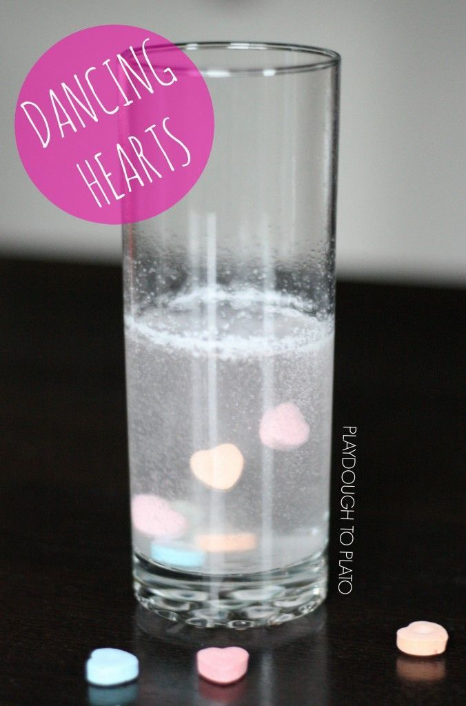 Cool kids' science experiment!! Make dancing conversation hearts.