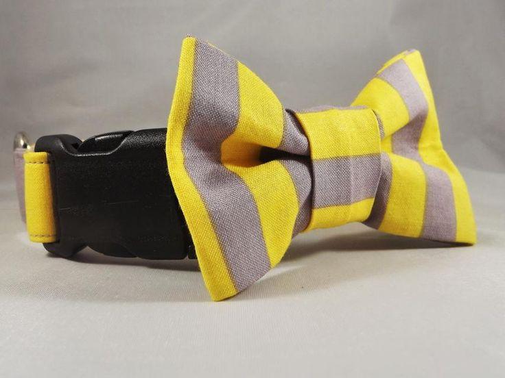 Stripe Cat Collar, Breakaway Cat Collar, Gray Cat Collar, Yellow cat collar, Stripe Kitten collar, bell & collar flower or Bow tie optional