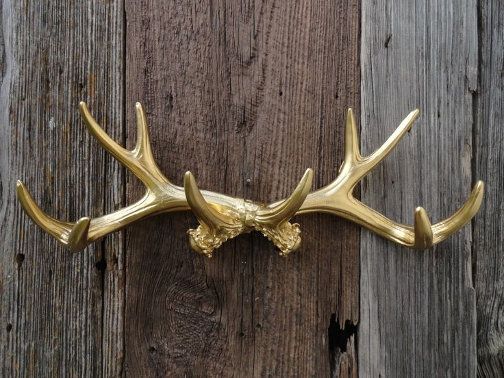 Wall Antlers Gold Resin Faux Deer Antler Rack Stag by JUNKINTIME, $41.95