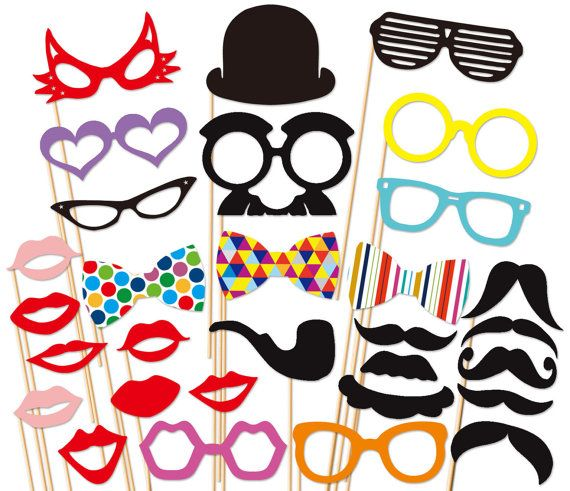 Best Wedding Photo Booth Props - 30 piece set - Party Photobooth Prop on Etsy, $35.00