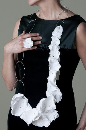 Cynthia del GIUDICE necklace - white 'flowers' or 'petals' - fused plastic grocery bags