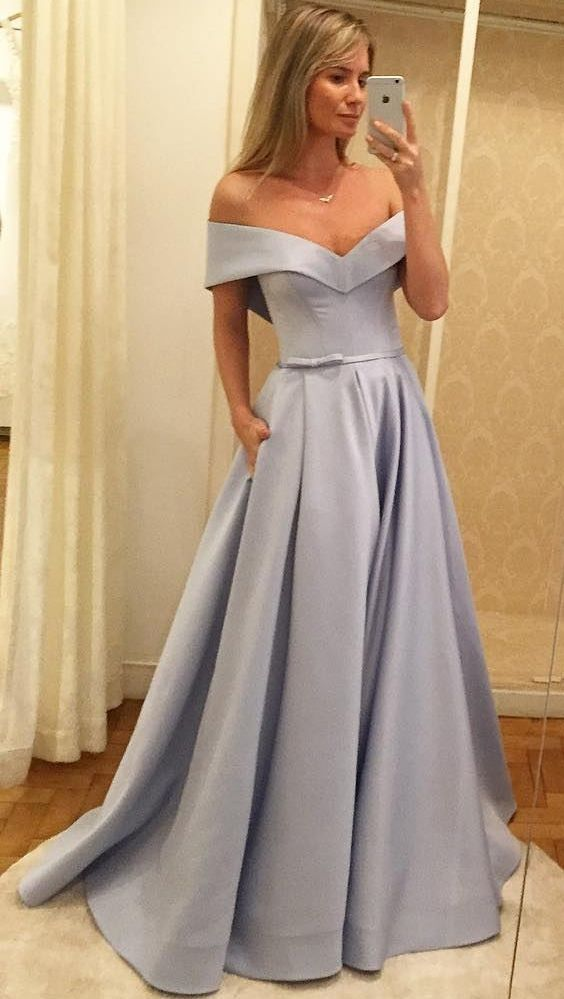 A-Line Off-the-Shoulder Sweep Train Grey Satin Prom Dress with Pockets by DRESS, $160.00 USD