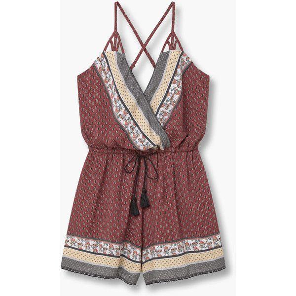 MANGO Printed Wrap Jumpsuit ($50) ❤ liked on Polyvore featuring jumpsuits, dresses, jump suit, embellished jumpsuit, mango jumpsuit, wrap jumpsuit and v neck jumpsuit