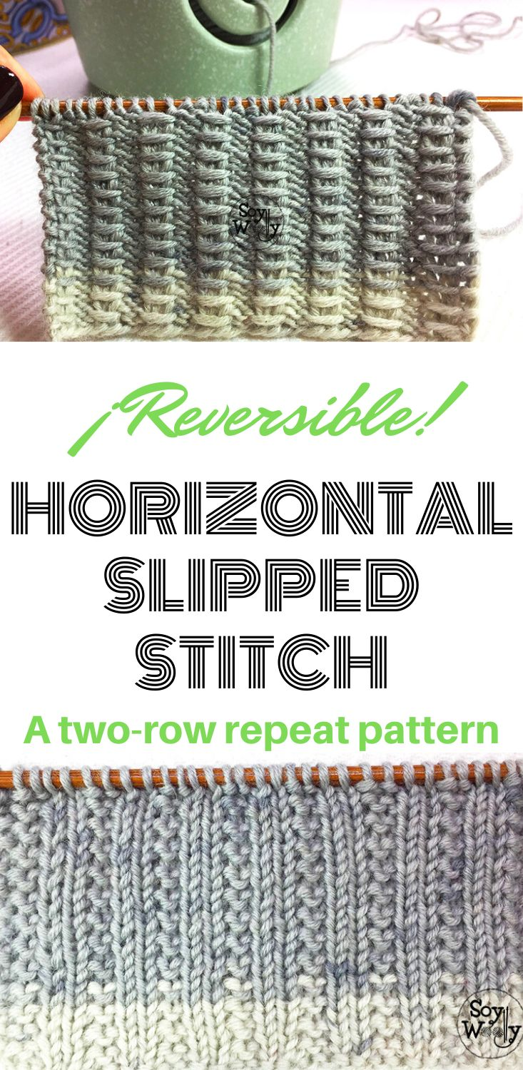 Horizontal slipped stitch a reversible tworow repeat