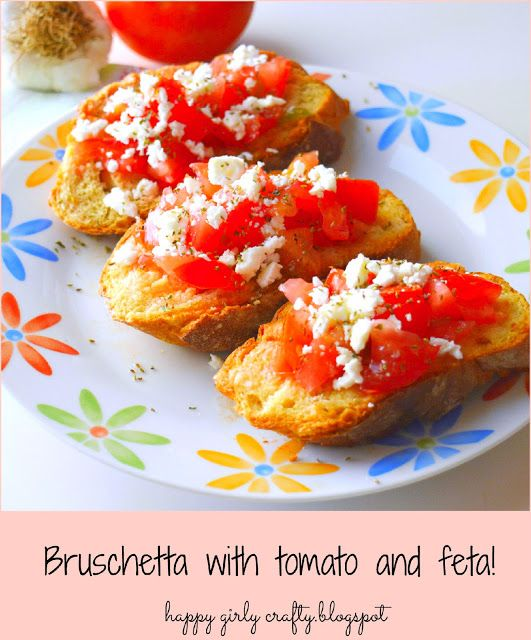 Bruschetta with tomatoes and feta cheese!