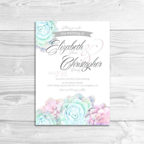 Watercolor Succulent Wedding Invitation by Lizzy Powers Design - midsouthbride.com