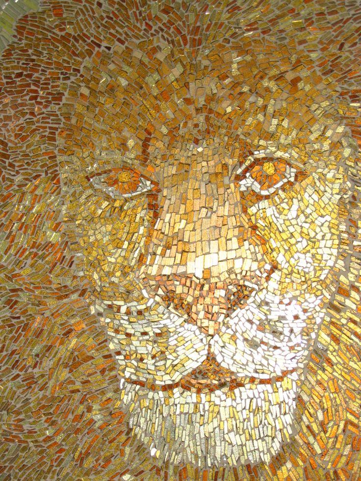 """Lion"" mozaic, 150 cm, detail, 2007, http://www.elizadanowska.pl/"