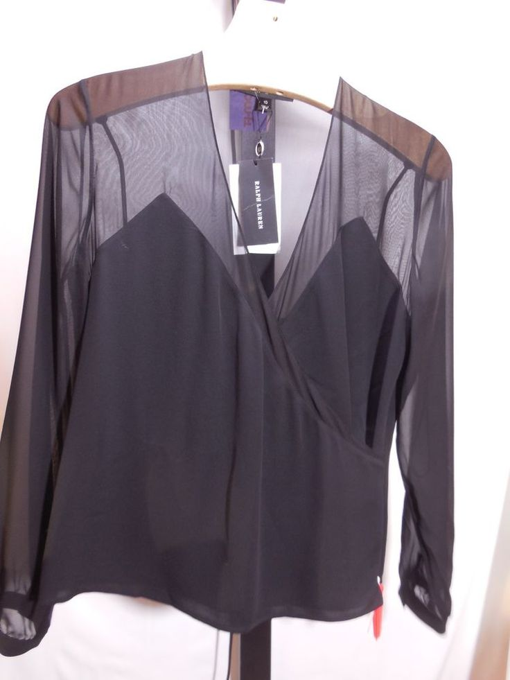 MISSES 100% SILK BLACK RAINA TOP BLOUSE RALPH LAUREN BLACK LABEL 10 $698 #RalphLaurenBlackLabel #Blouse #EveningOccasion