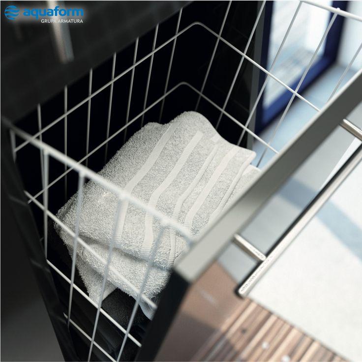 Brudna odzież lub ręczniki znajdą swoje miejsce w szafce w formie wysokiego słupka, wyposażonej w specjalny kosz - tak jak w naszej propozycji z kolekcji Amsterdam. #Aquaform #Łazienka #Bathroom #DIY #DoItYoursel #Design #Inspirations #Decorations #Interior #WystrójWnętrz #Wnętrza #ZróbToSam #przechowywanie #porządkowanie #szafka #słupek #kosz #pranie