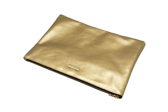 Gold Leather Clutch Golden Clutch by MONAObags on Etsy