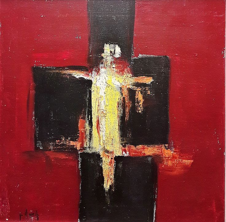 Ion Pacea (1924-1999) - Compoziție cu roșu, negru și galben / Composition in red, black and yellow