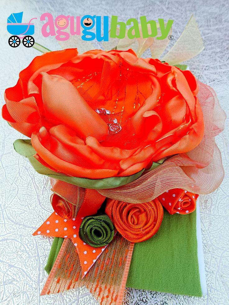 Orange and Olive Green Nylon Baby Headband