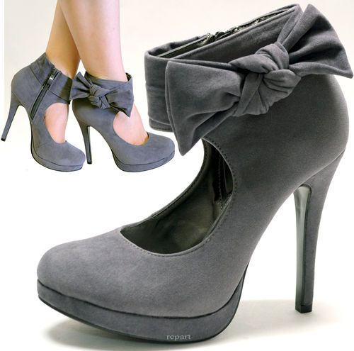 New Women's Shoes High Heel Pumps Stilettos Suede Like Side Zipper Gray | eBay