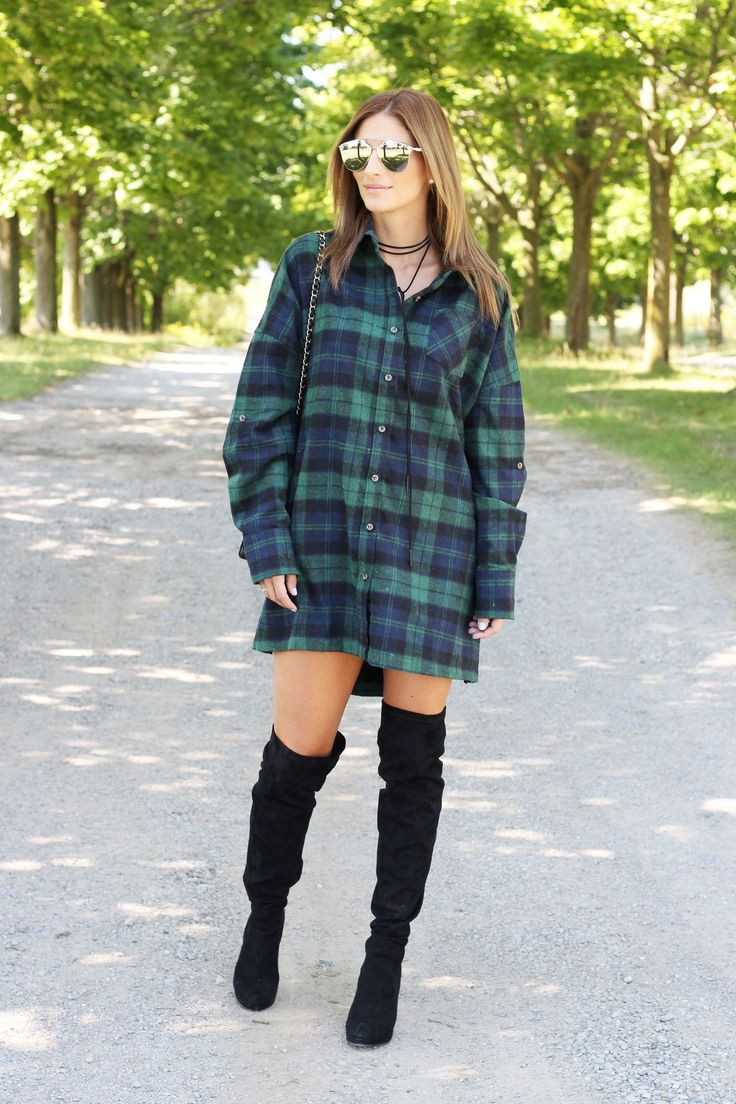 This flannel shirt dress is perfect for fall!  Dress from TOBI + over-the-knee boots from Forever 21 + tie choker necklace Aldo + DionSo Real sunglasses + Chanel medium flap bag #fallstyle #falllook #ootd