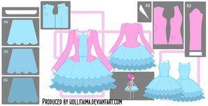 PB Short Blue Dress Cosplay Design Draft by Hollitaima