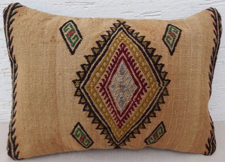 14''x 20'' Area Rug Modern Bohemian Home Decor Turkish Kilim Lumbar Pillow Cover #Handmade #Contemporary
