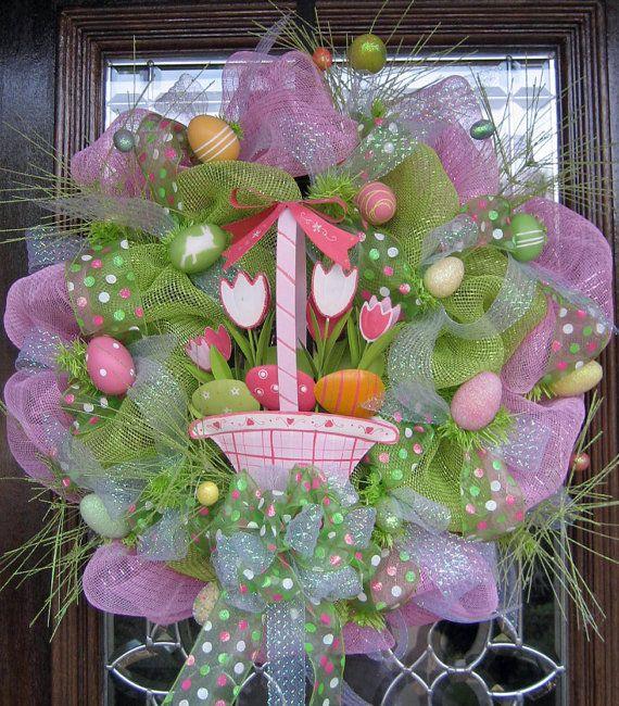 Deco Mesh Easter Wreath