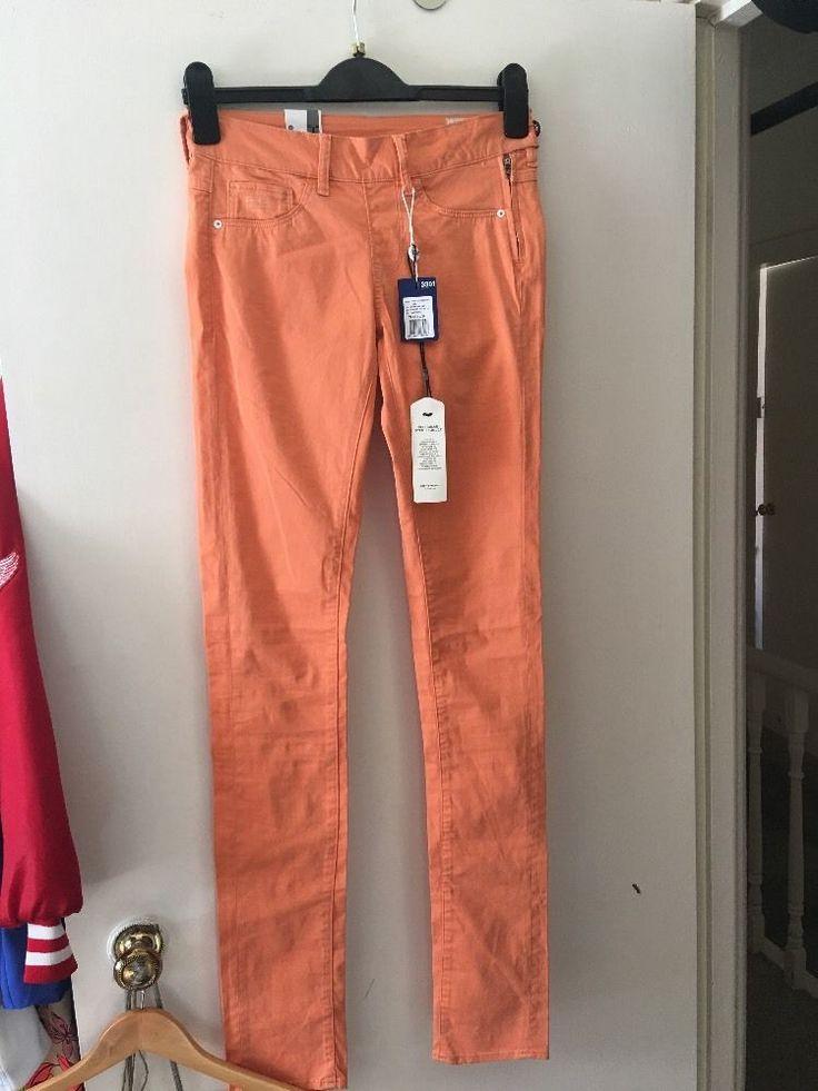 G-star Raw Ladies Orange Jeans Skinny Right Jegging Trousers 3301 Waist 25 Leg34