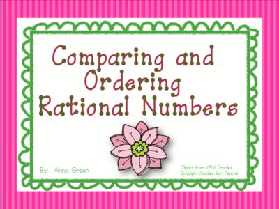 Comparing and Ordering Rational Numbers Activity from Fun in Middle School Math…