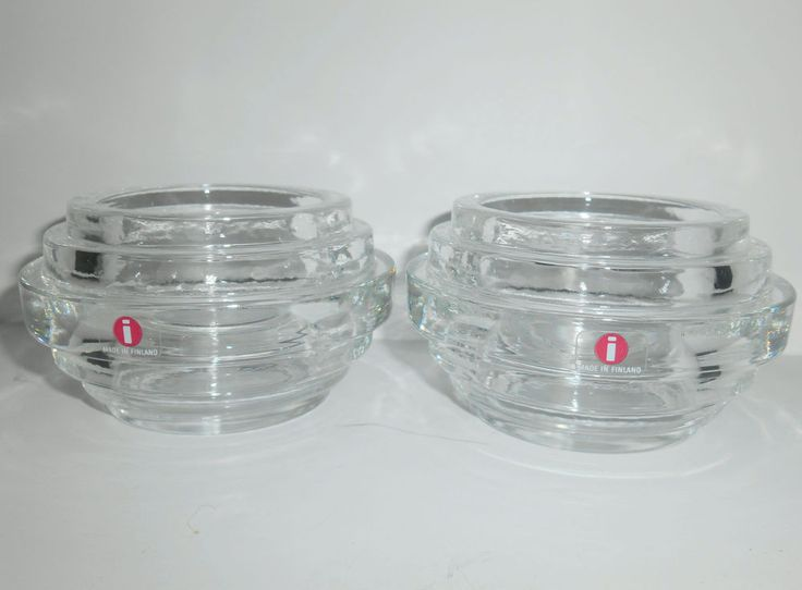 "IITTALA Pair VOTIVE CANDLE HOLDERS ""New York"" Vaalto Kokko #2651  FINLAND 1985"