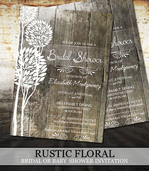 Rustic Wood Bridal Shower Invitations - Digital File Printable - Wedding Shower Invitations $18.00 Via Etsy Professional Printing Available