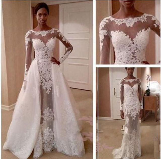 Zuhair Murd Wedding Dresses See Through Beach Bridal Gowns With Long Sleeve A Line Sheer Neck Liques Sweep Train Garden Ball B All About Weddings In