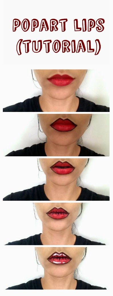 Oempaloempaas♥: Popart lips make-up tutorial. Funny for halloween or cosplay. It's easy, fun and cute. Inspiration. Inspired by pop-art makeup posts on the internet and blogs.