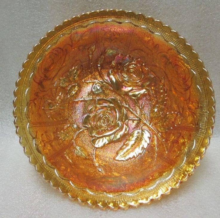 IMPERIAL CARNIVAL GLASS OPEN ROSE Master Berry BOWL PUMPKIN MARIGOLD VINTAGE!