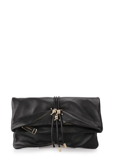 #MadeinItaly with soft black #leather the #DSQUARED2 clutch bends on itself and you can comfortably carry it in the hand or arm. Embellished with #gold #metal fittings it presents a detail that recalls the barbed wire, has a #zip on the top and a zip pocket, the interior is lined and the logo in gold characters is printed on the back. http://bit.ly/1ReNN39