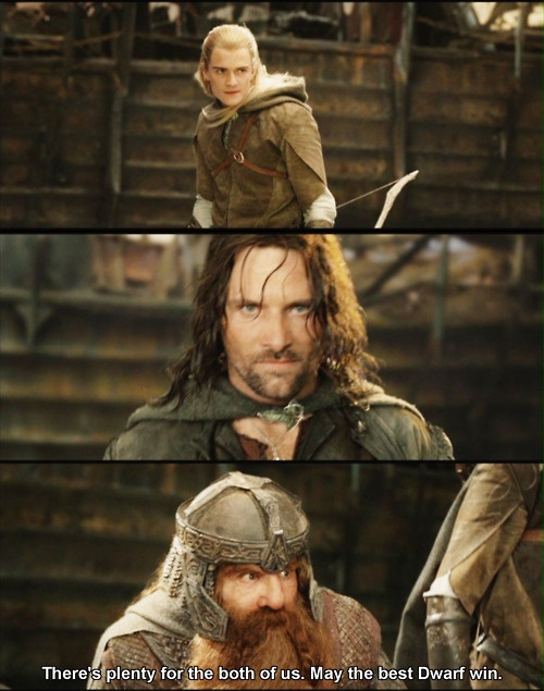 Yes, but why was Aragorn included in this? The contest thing was only between Gimli and Legolas..