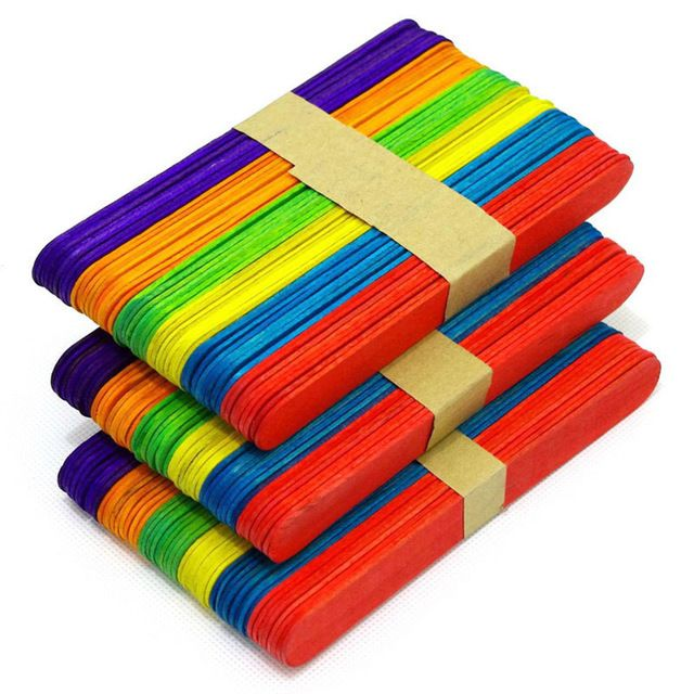 6 kleuren 48 stks Ijs Hand Ambachten Art Lolly Pack Houten Kleurrijke Ice Lolly…
