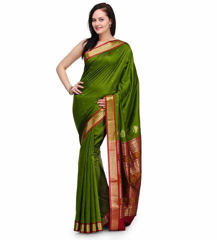 Green Jacquard Bomkai Art Silk Saree | Fabroop USA | Store for Trendy Sarees