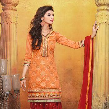 Light #Orange Art Silk Jacquard Kameez with Patiala