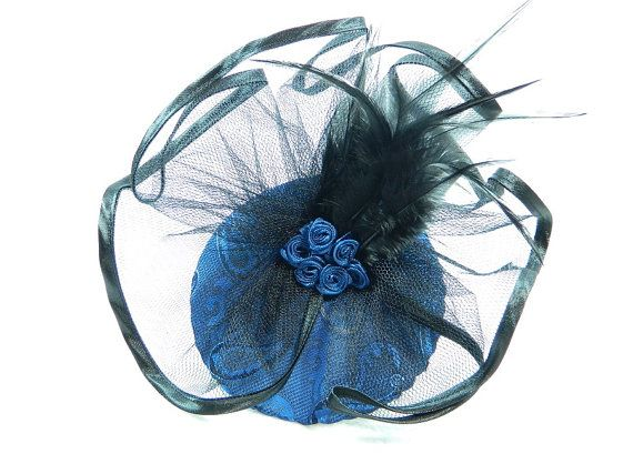 Fascinator royal blue black Ladies Hat Cocktail by Nashimiron