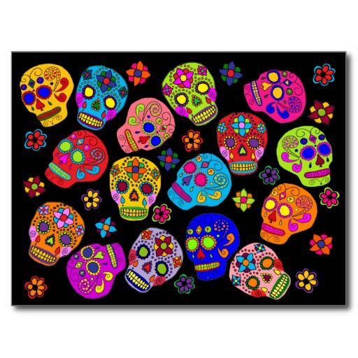 Mexican Folk Art Sugar Skulls Post Cards