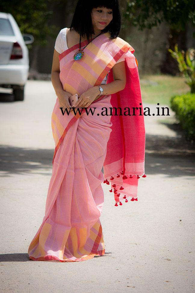 Buy Handwoven Linen saree-Piano Design hand woven thread along border