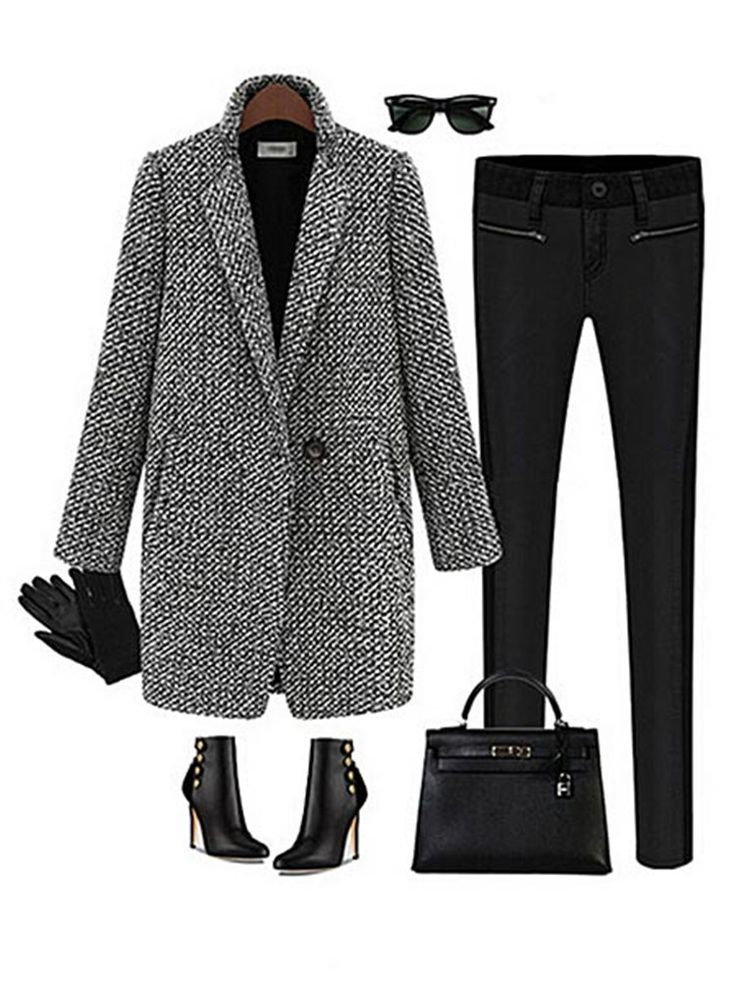 $35.46 Trendy Houndstooth Tweed Wool Long Sleeve Women Trench Coat Online - NewChic