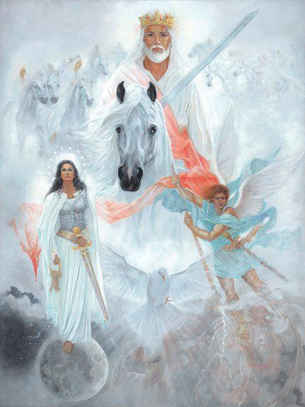 """And I saw heaven opened and behold a white horse and He that sat upon him was called Faithful & True. In righteousness He doth judge and make war. His eyes were as a flame of fire and on his head were many crowns. H he had a name written that no man knew, but he himself. He was clothed with a robe dipped in blood. His name is called ""The Word of God"". The armies which were in heaven followed Him upon white horses, clothed in fine linen, white and clean."" Revelation 19:11-14"