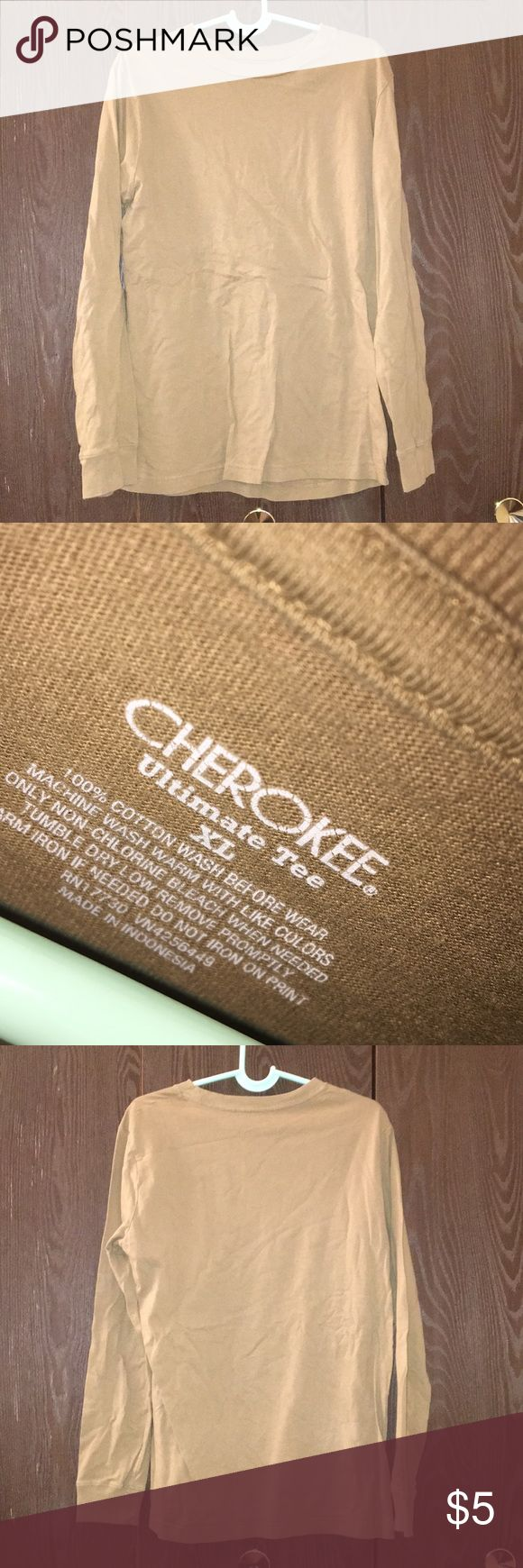 Cherokee Long Sleeve T-shirt (says youth XL) Says youth XL but fits small way better. ONLY WORN ONCE. Great condition. Tan shirt. Comfy. Stretchy. Durable. Cherokee Shirts Tees - Long Sleeve